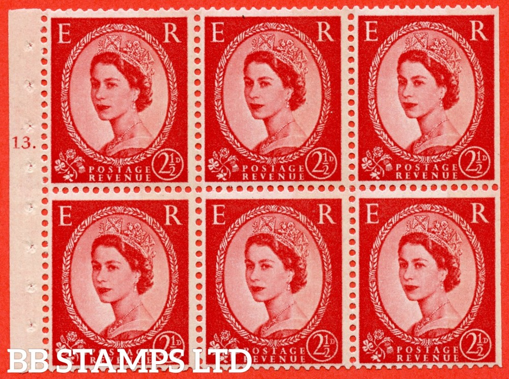 "SG. 614. SB86b. 2½d Carmine Red Type II. A fine mounted mint cylinder "" J13 T dot "" booklet pane of 6. Perf type (Ieb) with TRIMMED PERFS. Smooth edge. With "" One wide band ERROR ""."