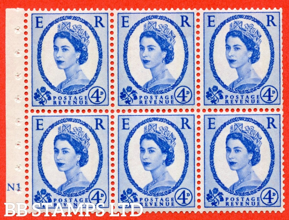 "SG. 616a. SB111. 4d Deep Ultramarine. A fine UNMOUNTED MINT cylinder "" N1 no dot "" booklet pane of 6. Perf type (I) with TRIMMED PERFS. Smooth edge."
