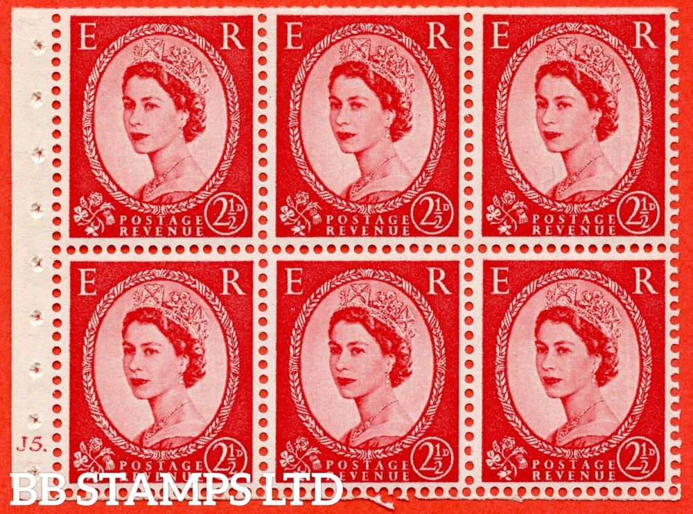 "SG. 544b. SB81. 2½d carmine - red. A fine UNMOUNTED MINT cylinder "" J5 dot "" booklet pane of 6. Perf type (Ieb) with TRIMMED PERFS. Smooth edge."