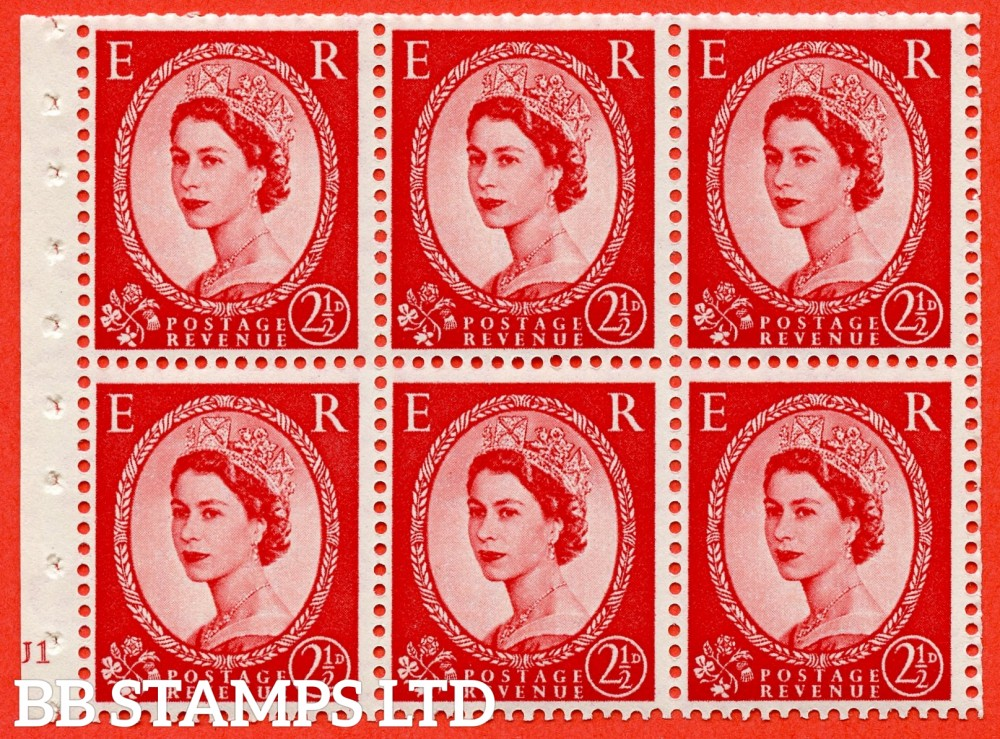 "SG. 519 b. SB80. 2½d carmine - red. A fine UNMOUNTED MINT cylinder "" J1 no dot "" booklet pane of 6. Perf type (I) with TRIMMED PERFS. Smooth edge."