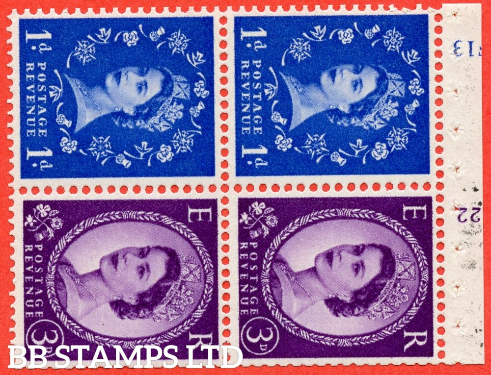 "SG. 571 / 575. SB35. 1d Ultramarine & 3d Deep Lilac. A fine UNMOUNTED MINT cylinder "" F13 (1d) K22 (3d) no dot "" booklet pane of 4. Perf type (I) with GOOD PERFS. Smooth edge. White paper."