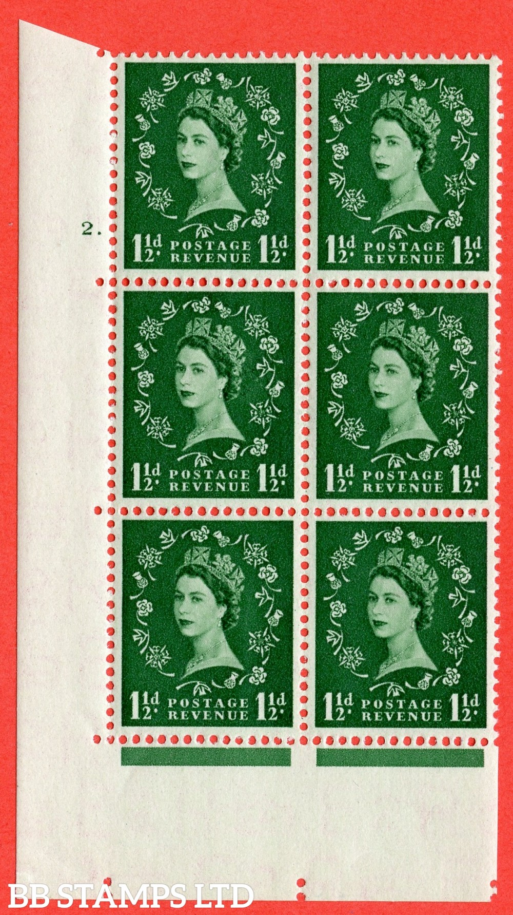 "SG. 517. S25. 1½d Green. A superb mounted mint. "" cylinder 2 dot "" control block of 6 with perf type A E/I."