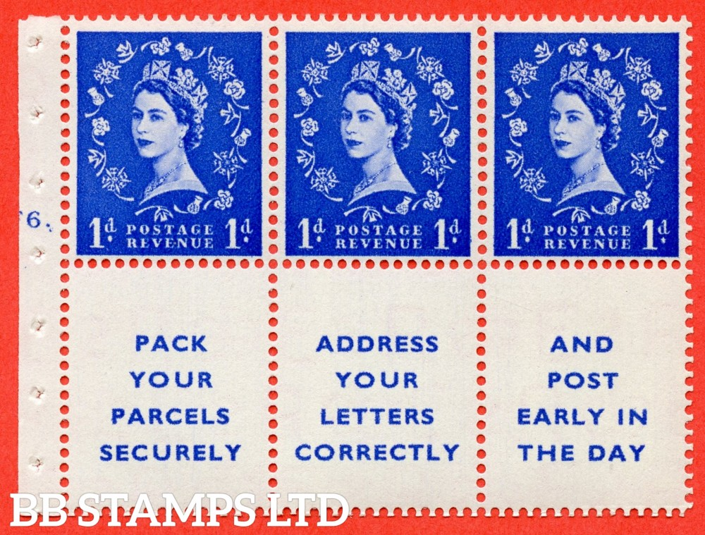 "SG. 541. SB29. 1d ultramarine. A fine UNMOUNTED MINT cylinder "" F6 dot "" booklet pane of 6. Perf type (Iet) with GOOD PERFS. Smooth edge."