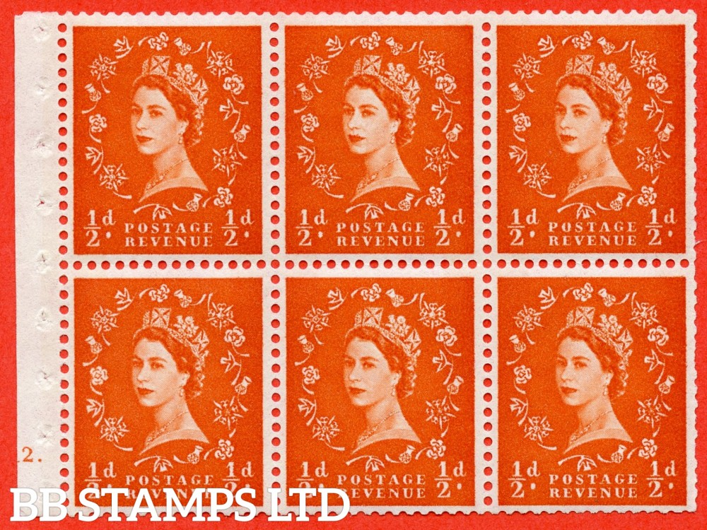 "SG. 610. SB17. ½d Orange Red. A fine UNMOUNTED MINT cylinder "" E12 dot "" booklet pane of 6. Perf type (Iet) with TRIMMED PERFS. Smooth edge. White Paper."