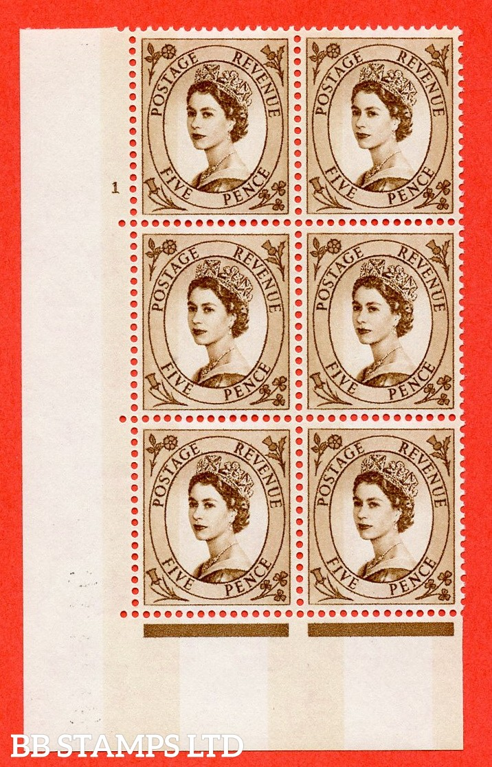 """SG.616c. S103. 5d Deep Brown. A fine mounted mint """" cylinder 1 no dot """" control block of 6 with perf type A (E/I). violet Phosphor 9½mm Band."""