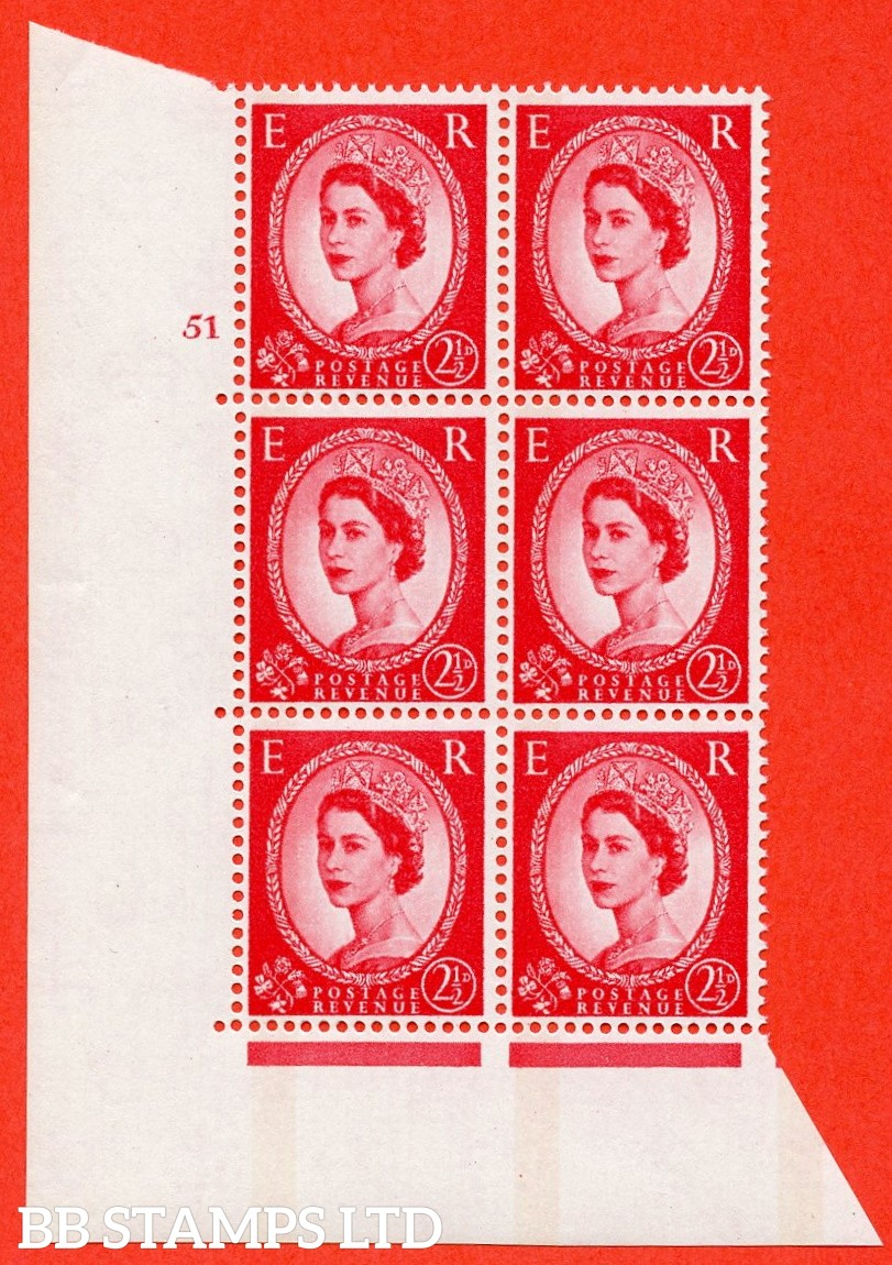"SG.614a. S65. 2½d Carmine red. LB Photo.  A superb UNMOUNTED MINT "" cylinder 51 no dot "" control block of 6 with perf type A (E/I). Blue Phosphor White paper"