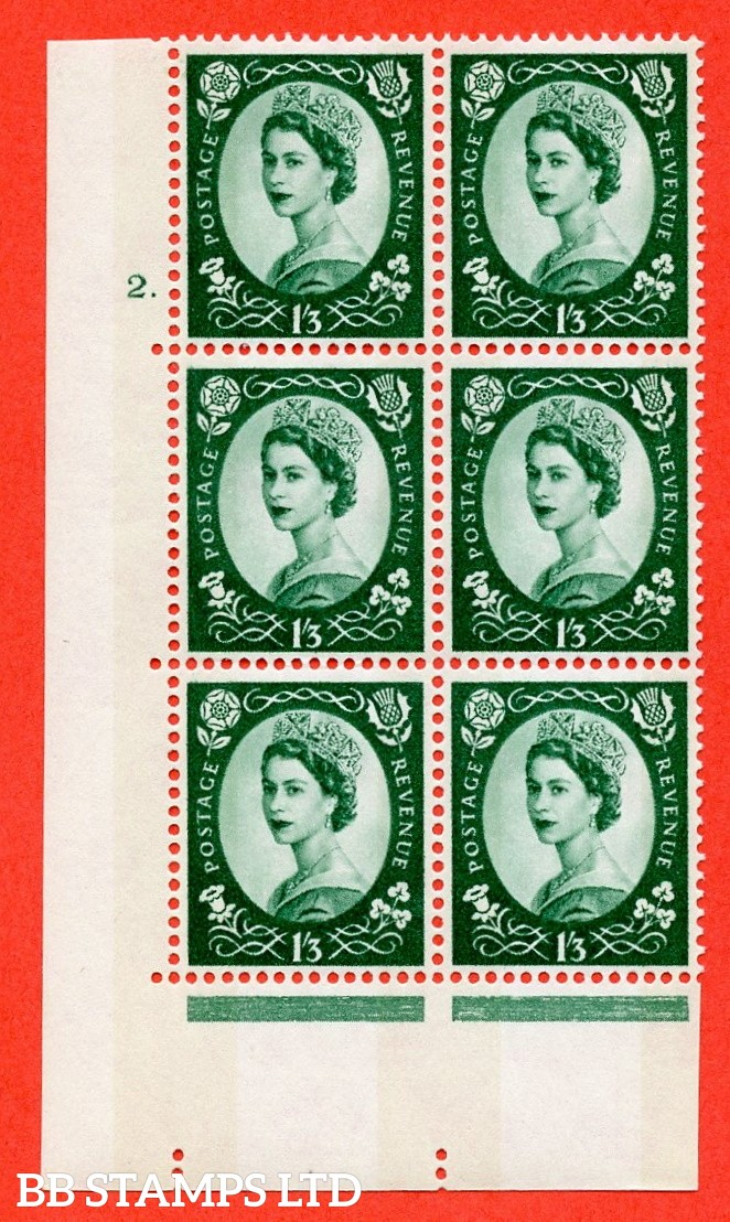"SG.618. S149. 1/3d Green. A superb UNMOUNTED MINT "" cylinder 2 dot "" control block of 6 with perf type A (E/I). violet Phosphor 9½mm Band"