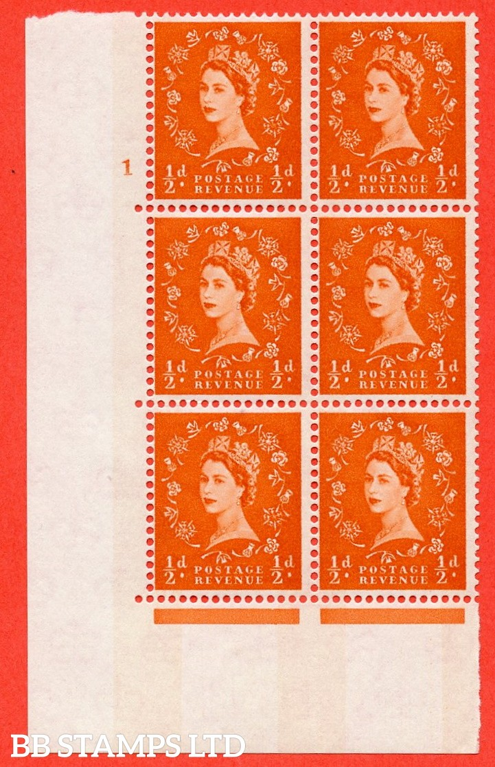"SG.610. S11. ½d  Orange red. A fine mounted mint "" cylinder 1 no dot "" control block of 6 with perf type A (E/I). Blue Phosphor White paper."