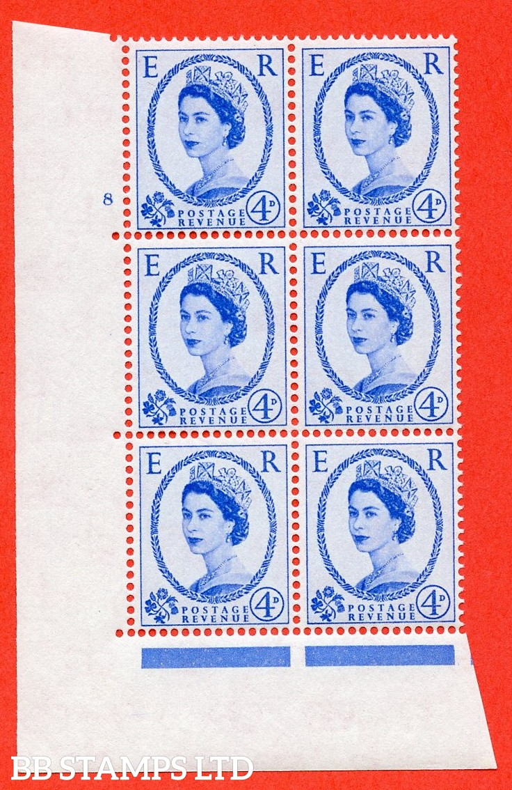 "SG. 576. S84. 4d Ultramarine. A superb UNMOUNTED MINT "" cylinder 8 no dot "" control block of 6 with perf type A E/I. WHITE paper."