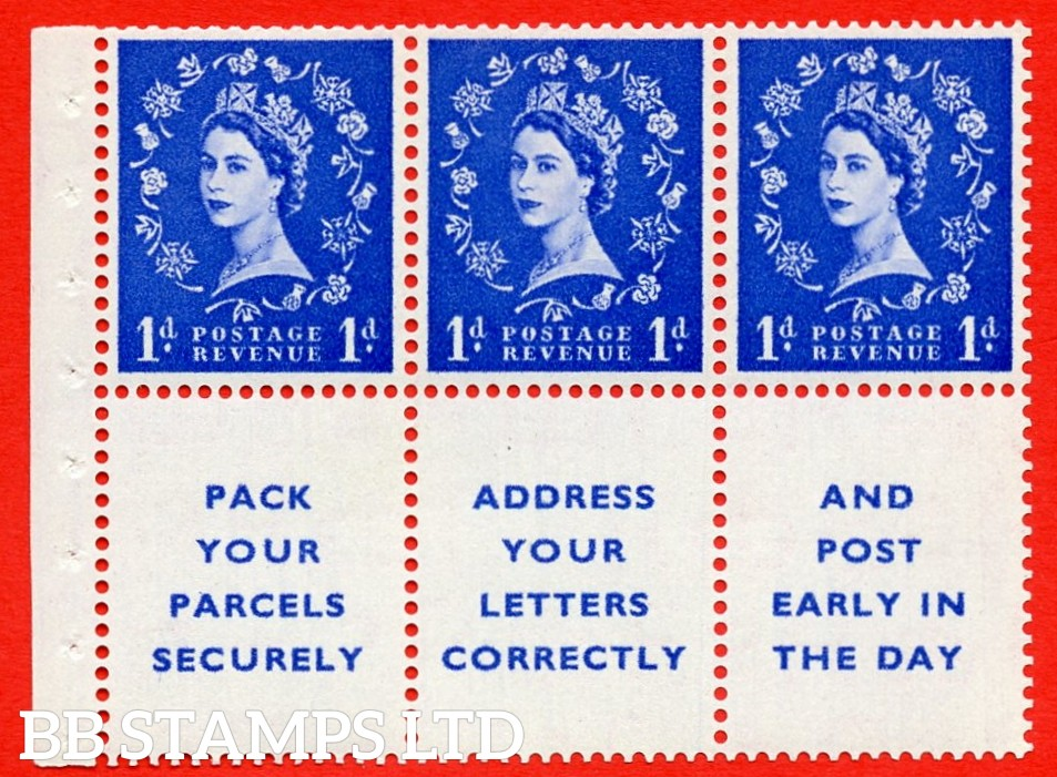 SG. 516La. SB25. 1d ultramarine. A fine UNMOUNTED MINT Complete booklet pane of 6. Perf type (IS) with Good PERFS.