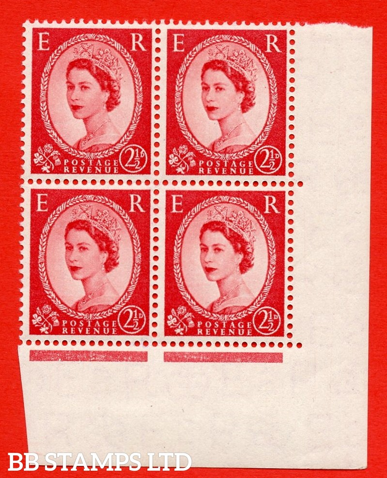 "SG. 544. S52c. 2½d. Carmine - Red. A superb UNMOUNTED MINT example from cylinder 30 dot Corner block of 4. With a ""B"" for ""D"" in the value ERROR R.9/11 variety."