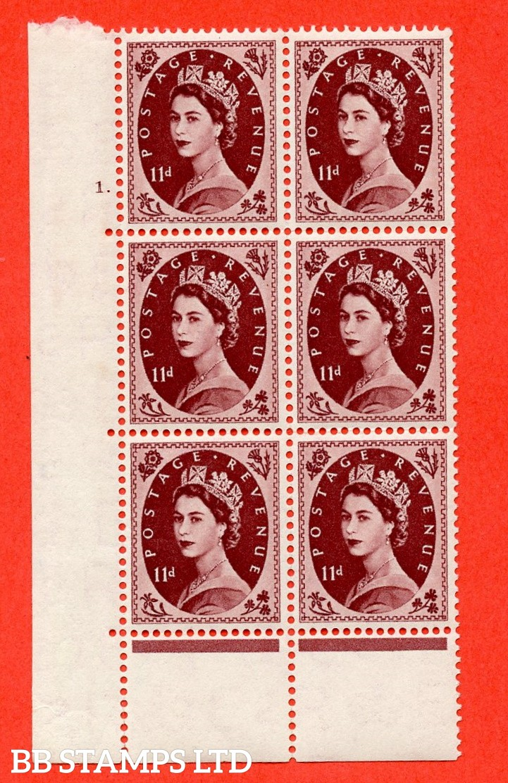"SG. 553. S135. 11d. Brown - purple. A superb UNMOUNTED MINT "" cylinder 1 dot "" control block of 6 with perf type C E/P."