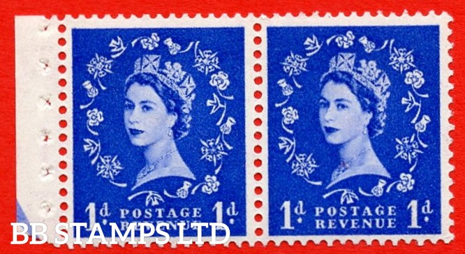 SG. 516N. SB22. 1d Ultramarine. A fine UNMOUNTED MINT. Complete booklet pane of 2 with perf type E½v (B). Good perfs.