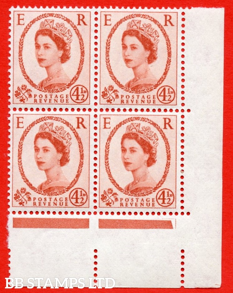 SG. 577. S94a. 4½d Chestnut. A superb UNMOUNTED MINT example. Bottom right corner marginal positional block of 4. From cylinder 8 no dot. White paper. With a phantom frame ERROR. R.20/12 variety.
