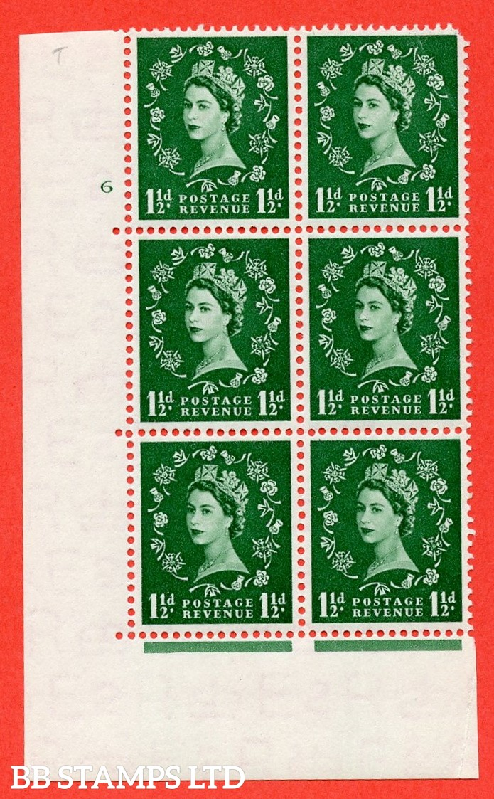 "SG. 517. S25. 1½d Green. A fine lightly mounted mint. "" cylinder 6 no dot "" control block of 6 with perf type A E/I."