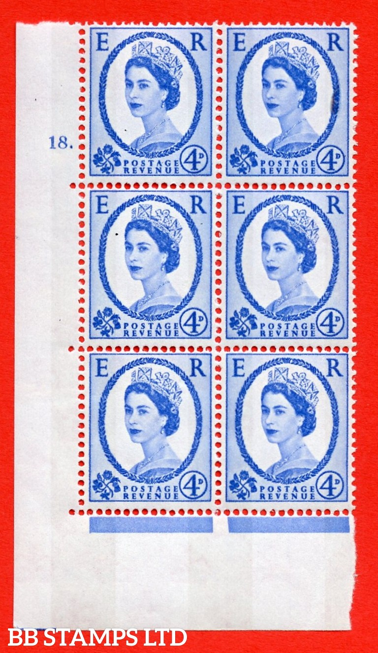 "SG.616a. S92. 4d Deep Ultramarine. A superb UNMOUNTED MINT "" cylinder 18 dot "" control block of 6 with perf type A (E/I). violet Phosphor 9½mm Band."