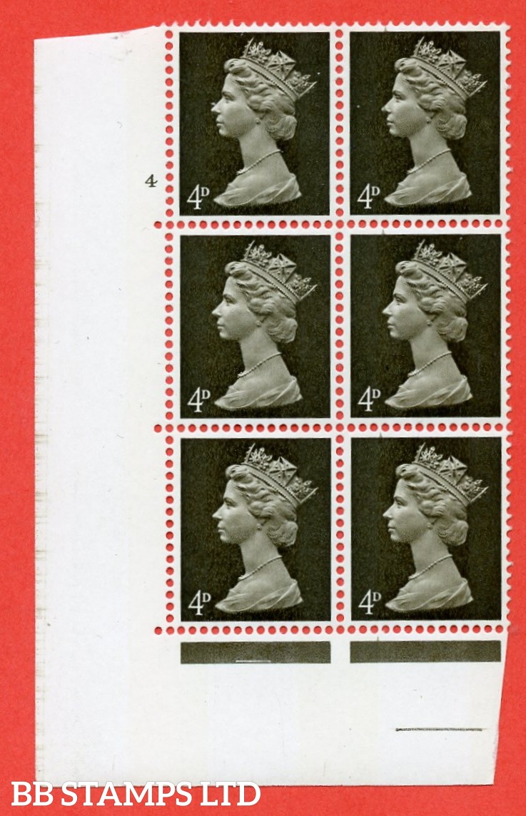"SG. 731v. U12 . 4d deep olive brown  A superb UNMOUNTED MINT "" cylinder 4 no dot "" control block of 6 with perf type A E/I. PVA gum. Head A."