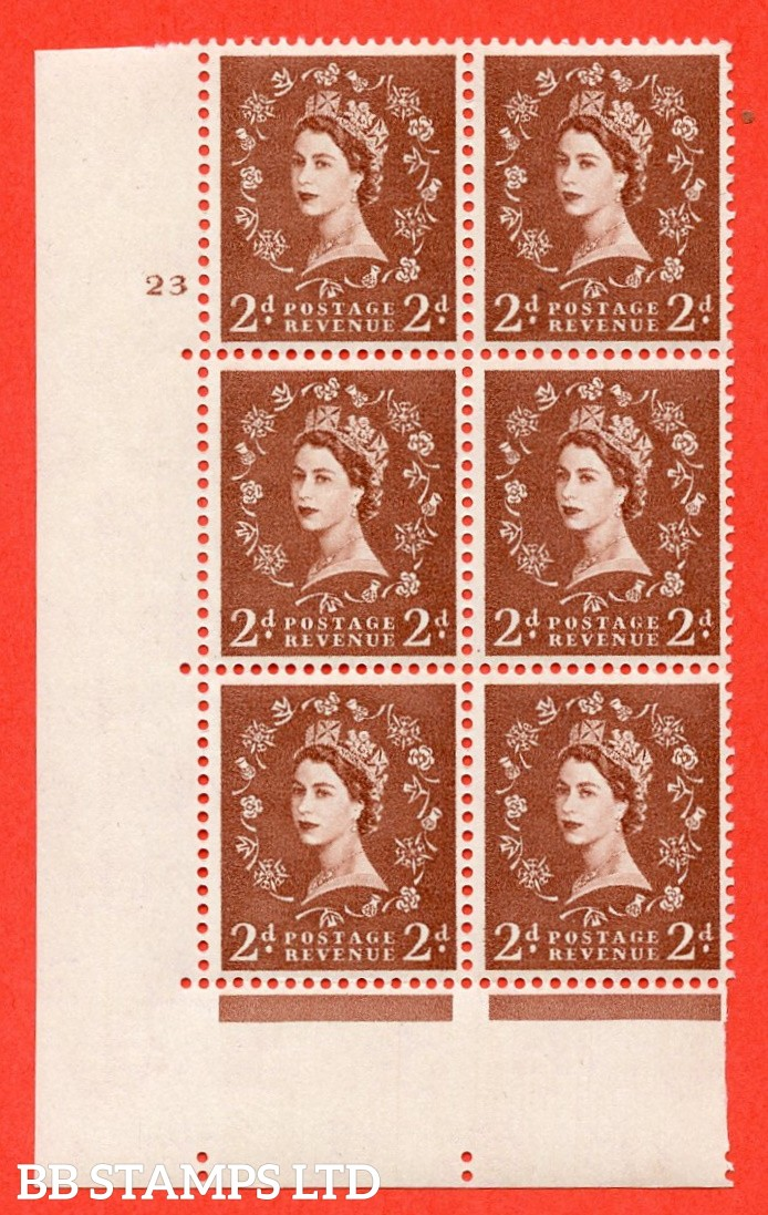 "SG. 573. S40. 2d light red brown . A superb UNMOUNTED MINT "" cylinder 23 no dot "" control block of 6 with perf type A E/I. CREAM paper."