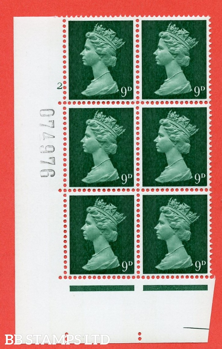 "SG. 740v. U23. 9d myrtle green  A superb UNMOUNTED MINT "" cylinder 2 no dot "" control block of 6 with perf type A E/I. PVA gum. Head A"