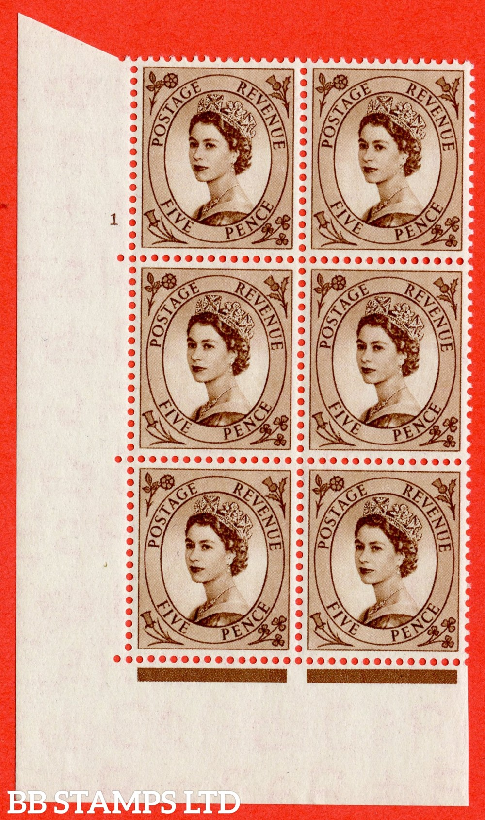 "SG. 522. S99. 5d Brown. A superb UNMOUNTED MINT "" cylinder 1 no dot "" control block of 6 with perf type A E/I."