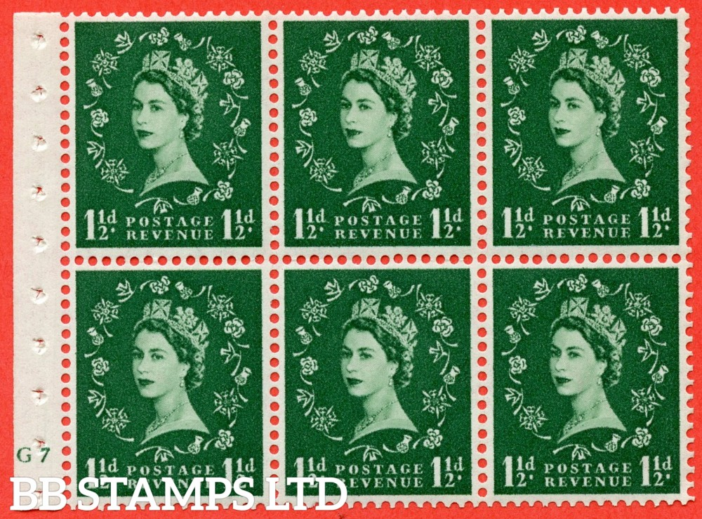"SG. 542. SB62. 1½d green. A fine UNMOUNTED MINT cylinder "" G7 no dot "" booklet pane of 6. Perf type (I) with GOOD PERFS. Smooth edge."