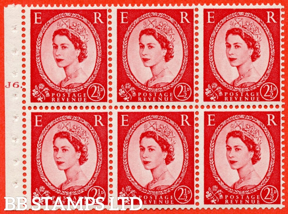 "SG. 544b. SB81. 2½d carmine - red. A fine UNMOUNTED MINT "" J6 T dot "" booklet pane of 6. Perf type (Ieb) with GOOD PERFS. Smooth edge."