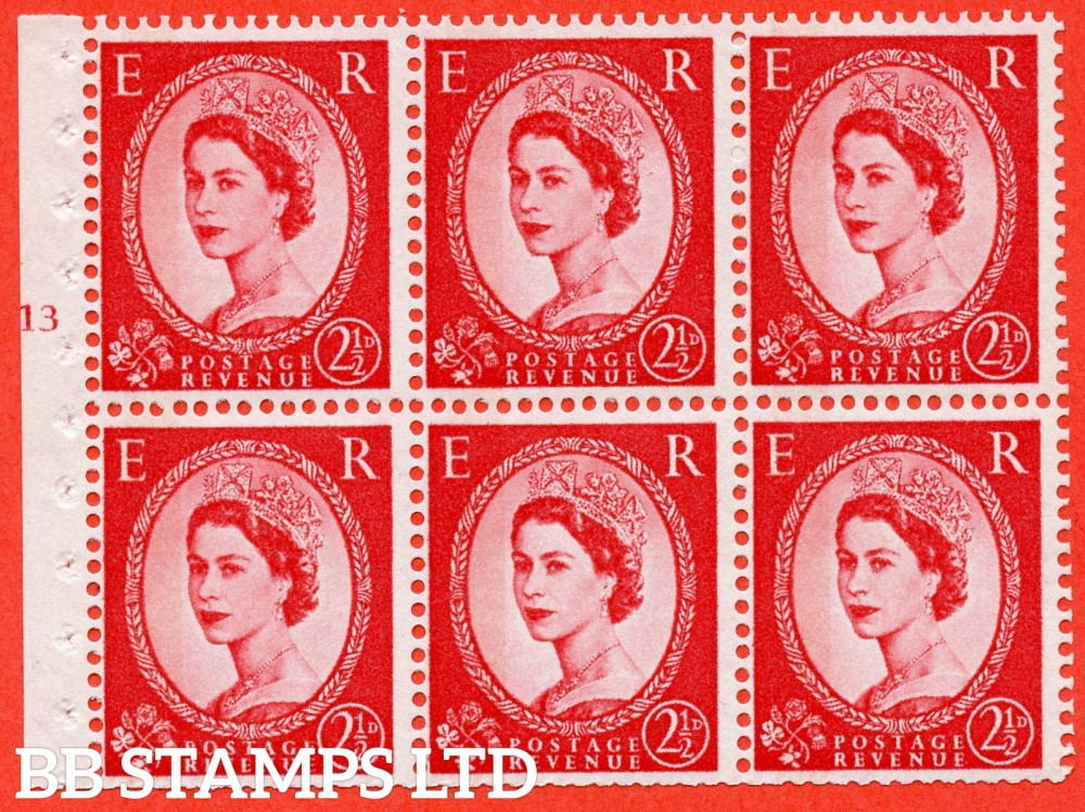 "SG. 614. SB89. 2½d Carmine Red Type II. A fine mounted mint cylinder "" J13 T no dot "" booklet pane of 6. Perf type (I) with TRIMMED PERFS. Smooth edge. White Paper."