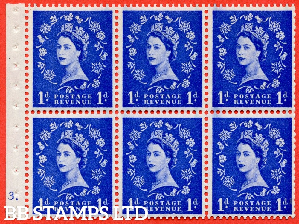 """SG. 588. SB39. 1d Ultramarine. A fine UNMOUNTED MINT cylinder """" E3 dot """" booklet pane of 6. Perf type (Ieb) with GOOD PERFS. Smooth edge."""
