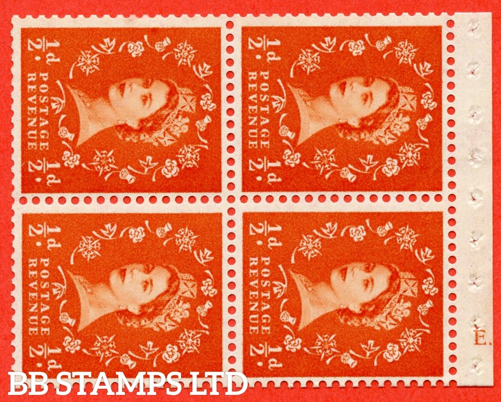 "SG. 570. SB10. ½d Orange Red. A fine UNMOUNTED MINT cylinder "" E.13  no dot "" booklet pane of 4. Perf type (I) with GOOD PERFS. Smooth edge. Cream paper."
