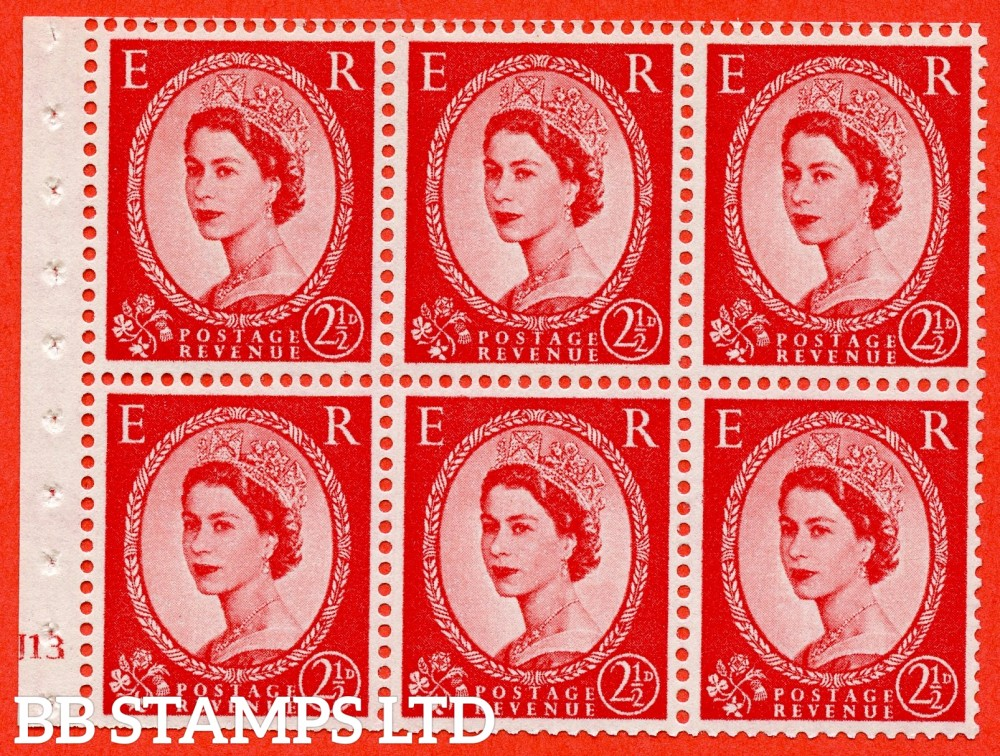 "SG. 574. SB82. 2½d Carmine Red Type II. A fine UNMOUNTED MINT cylinder "" J13 no dot "" booklet pane of 6. Perf type (I) with TRIMMED PERFS. Smooth edge. Cream paper."