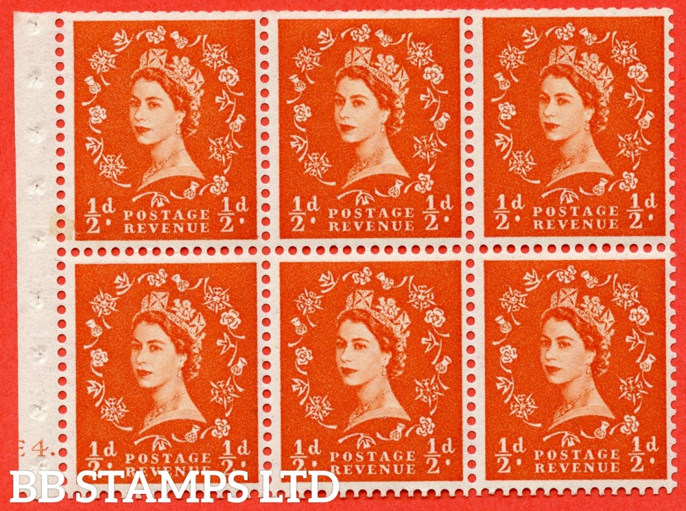 "SG. 540. SB4. ½d orange - red. A fine mounted mint cylinder "" E4 dot "" booklet pane of 6. Perf type (Ieb) with TRIMMED PERFS. Smooth edge."
