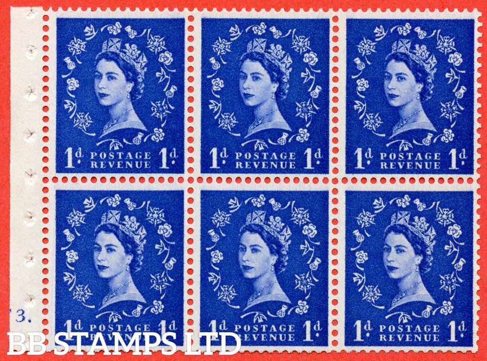 "SG. 571. SB30. 1d Ultramarine. A fine UNMOUNTED MINT cylinder "" F3 dot "" booklet pane of 6. Perf type (Ieb) with GOOD PERFS. Smooth edge Cream paper."