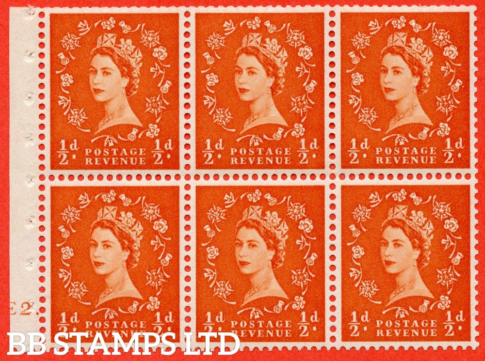 "SG. 515. SB1. ½d orange - red. A fine UNMOUNTED MINT cylinder "" E2 dot "" booklet pane of 6. Perf type (Ieb) with TRIMMED PERFS. Smooth edge."