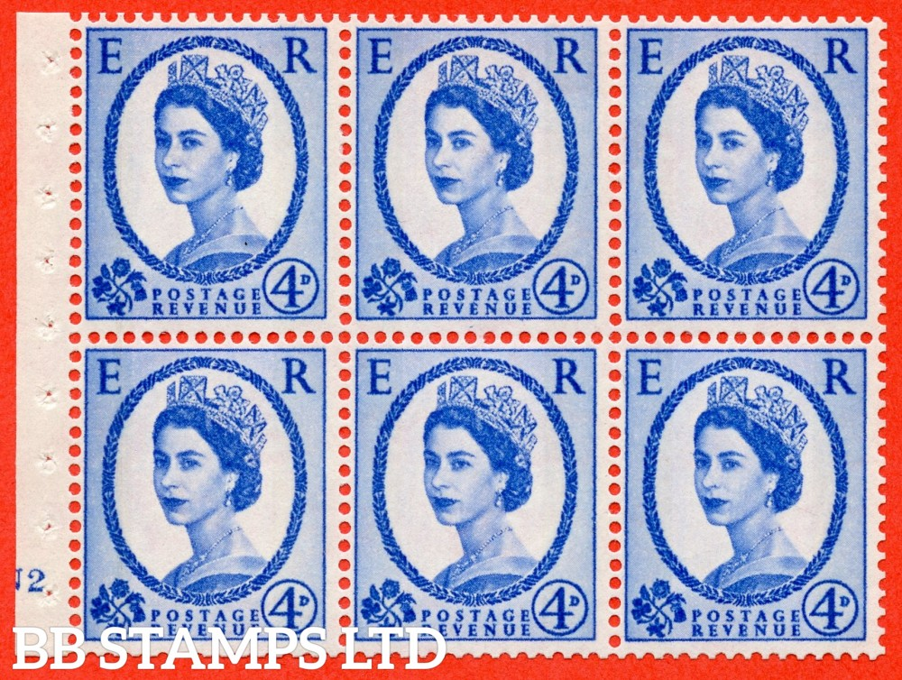 "SG. 616a. SB111. 4d Deep Ultramarine. A fine mounted mint cylinder "" N2 no dot "" booklet pane of 6. Perf type (I) with TRIMMED PERFS. Smooth edge."