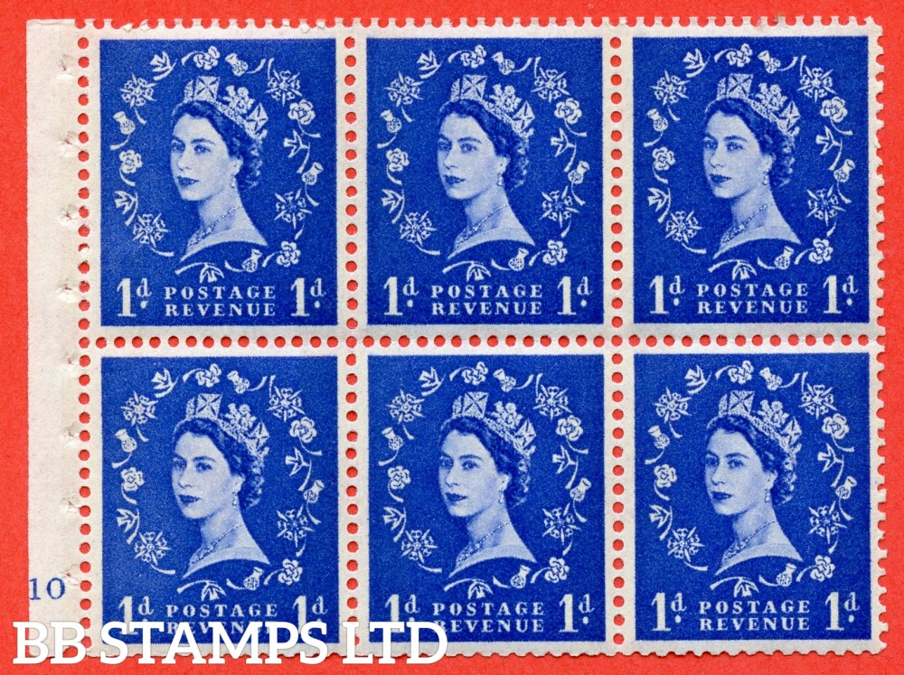 "SG. 611. SB41. 1d Ultramarine. A fine UNMOUNTED MINT cylinder "" F10 no dot "" booklet pane of 6. Perf type (I) with GOOD PERFS. Smooth edge. Cream Paper."