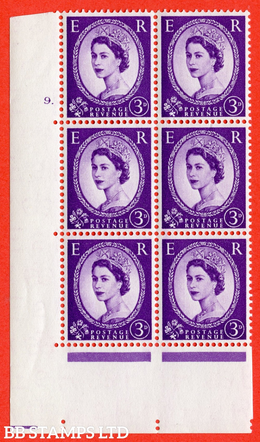 "SG. 545. S68. 3d. Deep - Lilac. A superb UNMOUNTED MINT "" cylinder 9 dot "" control block of 6 with perf type A E/I."