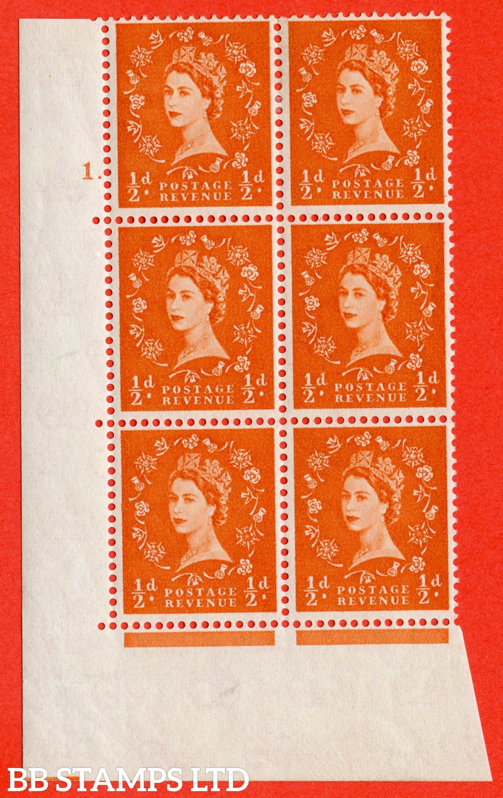 "SG. 570. S5. ½d Orange. A fine lightly mounted mint "" cylinder 1 dot "" control block of 6 with perf type A E/I. WHITE paper."
