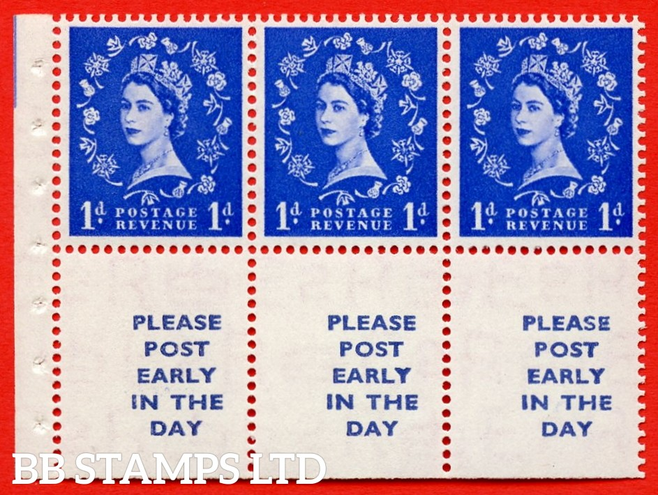 SG. 516La. SB24. 1d ultramarine. A fine UNMOUNTED MINT Complete booklet pane of 6. Perf type (Ieb) with Trimmed PERFS.