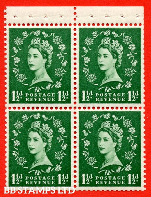 SG. 517m. SB60b. 1½d green. A fine UNMOUNTED MINT example. Complete booklet pane of 4. With a Rose petal flaw ERROR. R..1/1 variety. Good Perfs.