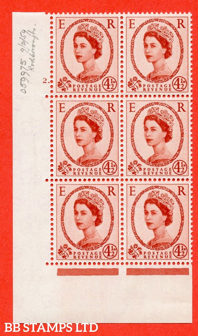 "SG. 577 S93. 4d½ chestnut  A superb UNMOUNTED MINT "" cylinder 2 dot "" control block of 6 with perf type A (E/I)."