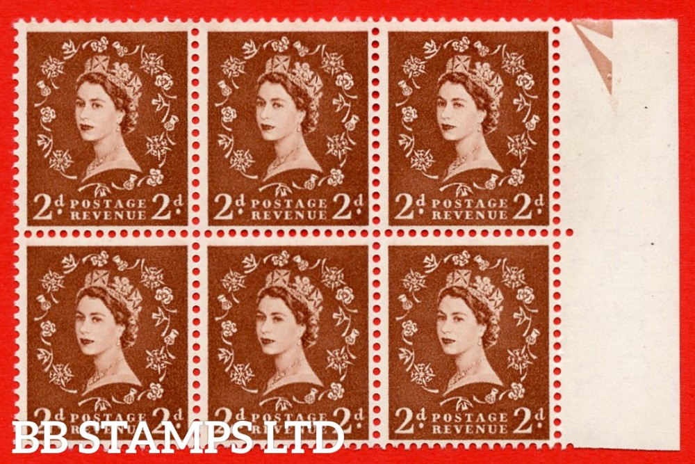 SG. 543b. S38qa?. 2d. Light Red-brown. A superb MOUNTED MINT example from cylinder 14 no dot. Right marginal positional Block of 6. With a White spot by right thistel Retouched ERROR R.11/10 variety.