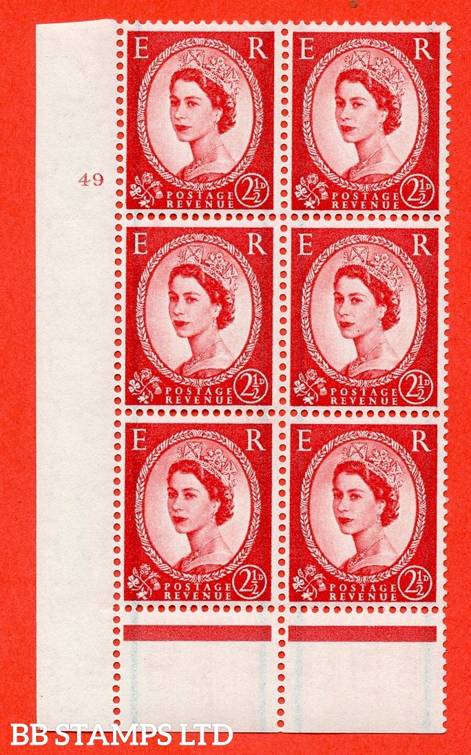 "SG. 565. S54. 2½d Carmine - red. A fine mounted mint "" cylinder 49 no dot "" control block of 6 with perf type B I/P."