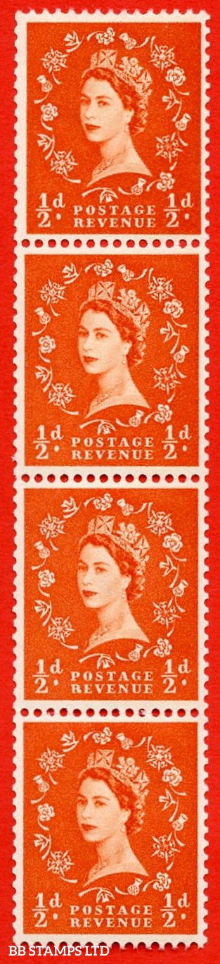 "SG. 570. S4n. ½d Orange. A superb UNMOUNTED MINT example. Coil strip of 4. Cream paper. With a ""R"" flaw ERROR. Roll 11 variety."