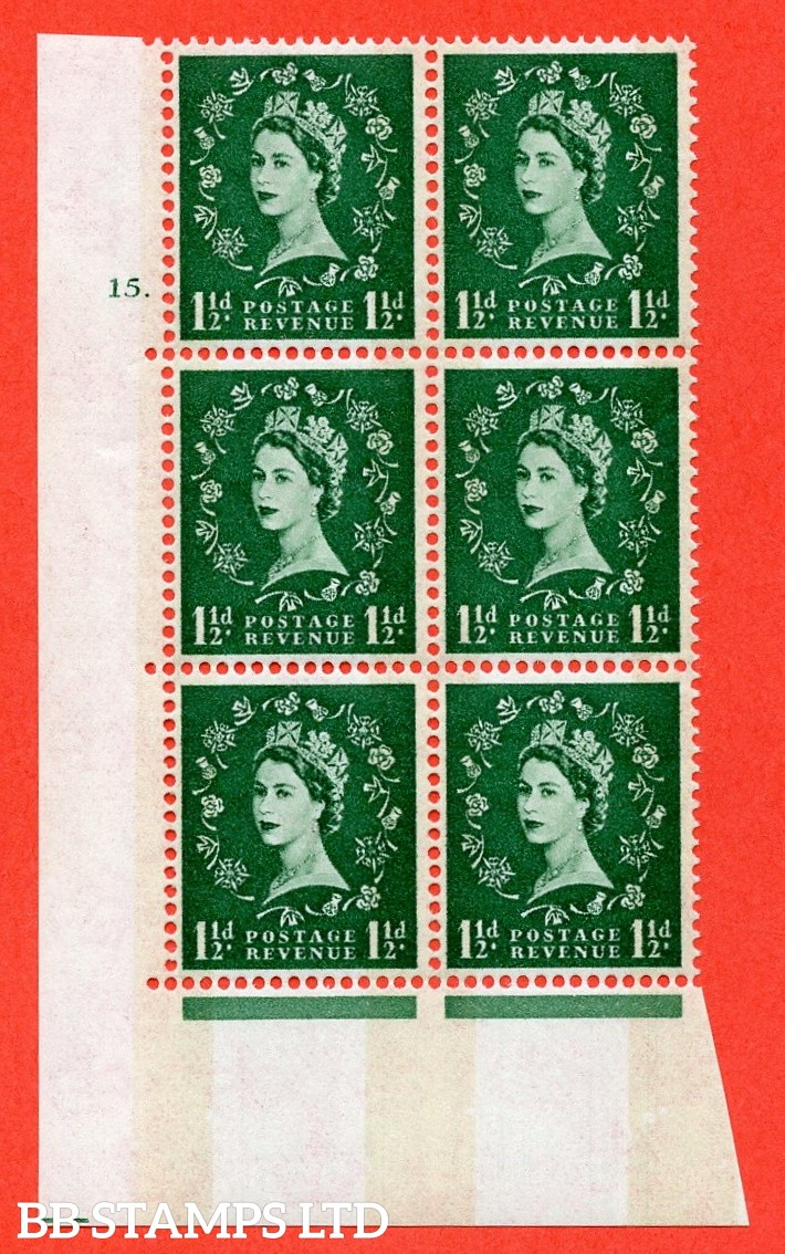 """SG.612. S35. 1½d Green. Letterpress. A superb UNMOUNTED MINT """" cylinder 15 dot """" control block of 6 with perf type A (E/I). violet Phosphor 8mm Band."""