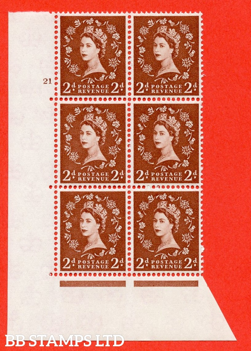 "SG. 573. S40. 2d light red brown . A fine mounted mint "" cylinder 21 no dot "" control block of 6 with perf type A E/I. CREAM paper."