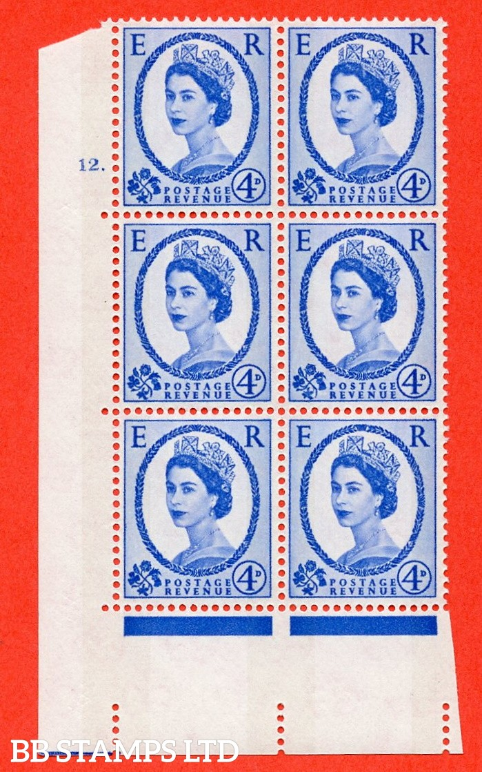"SG.616a. S90. 4d Deep Ultramarine. A superb UNMOUNTED MINT "" cylinder 12 dot "" control block of 6 with perf type A (E/I). Blue Phosphor White paper"