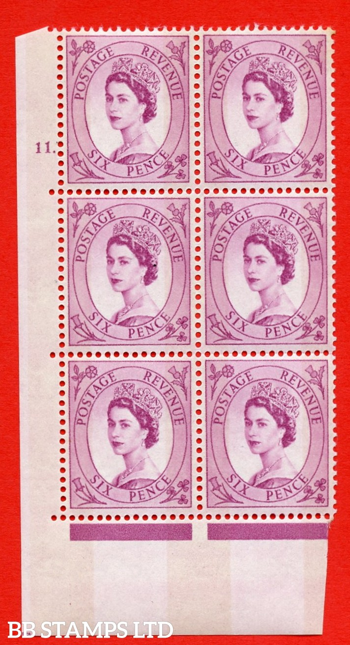 "SG.617. S117. 6d Deep Claret. A superb UNMOUNTED MINT "" cylinder 11 dot "" control block of 6 with perf type A (E/I). violet Phosphor 9½mm Band."