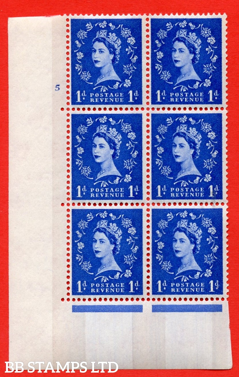 "SG.611. S23b. 1d Ultramarine. Photo. A superb UNMOUNTED MINT "" cylinder 5 no dot "" control block of 6 with perf type A (E/I). violet Phosphor 8mm Band."