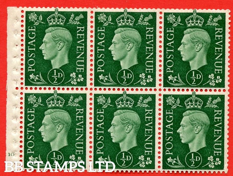 SG. QB1 Perf Type B4(E). ½d Green x 6 Pane, UNMOUNTED MINT Watermark Upright. Cylinder Pane E10 no dot ( SG. 462b ) Perf Type B4(E). Good Perfs.