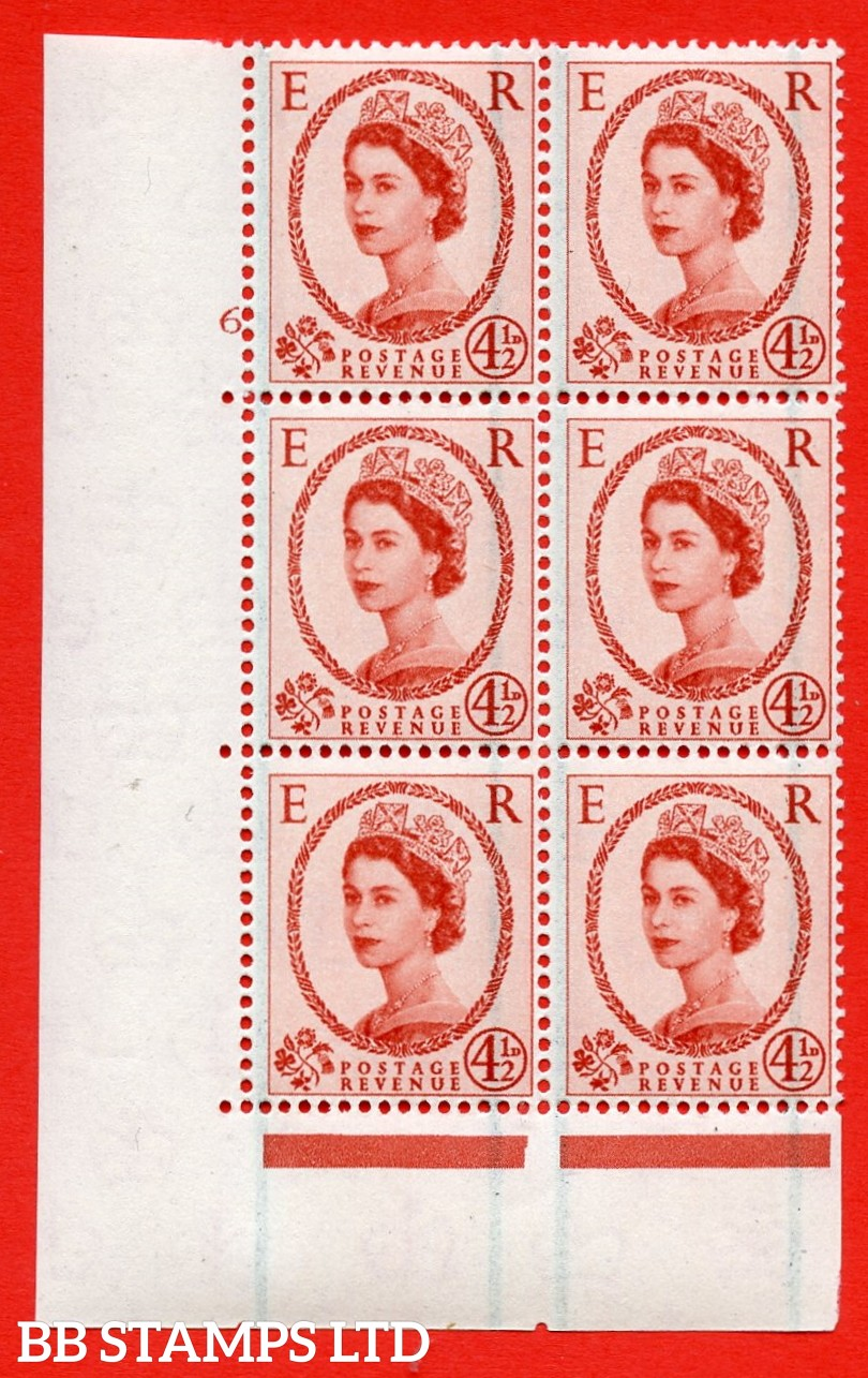 """SG. 594. S95. 4½d Chestnut. A superb UNMOUNTED MINT """" cylinder 6 no dot """" control block of 6 with perf type A E/I."""